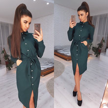 Office Lady Casual Sashes Straight Dress Long Sleeve Turn Down Collar Solid Elegant 2019 New Fashion Vintage Midi Dress(China)