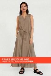 Finn flare robe sophistiquée sans manches de style libre avec un cordon de serrage le long de la ligne de taille, collection de summer-2020