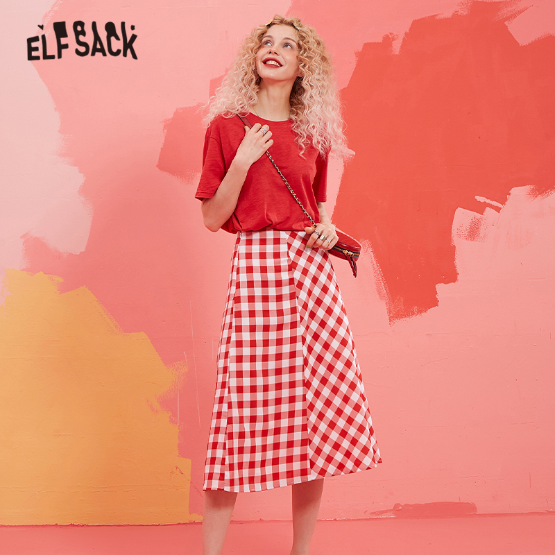 ELFSACK Red Solid Top With Plaid Long Skirt Women Korean Two Piece Set 2019 Autumn Casual Preppy Ladies Matching Sets