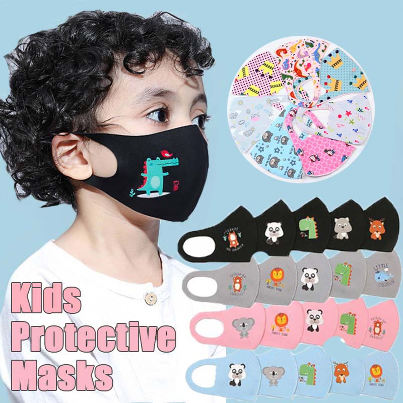 3PCS Anti-Dust PM2.5 Children Face Mask Reusable Breathable Cotton Protective Kids Cartoon Cute Mouth Mask Safety For Boys Girls