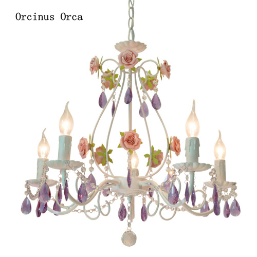 Korean Rural Color Rose Chandelier Girl Bedroom Princess Room Lamp Creative Romantic Purple Crystal Chandelier