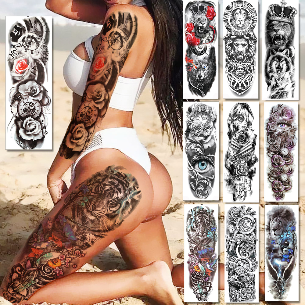 Sexy Long Full Arm Rose Clock Temporary Tattoos For Men Women Tatoo Body Leg Art Makeup Large Tiger Flower Fake Tattoo Stickers