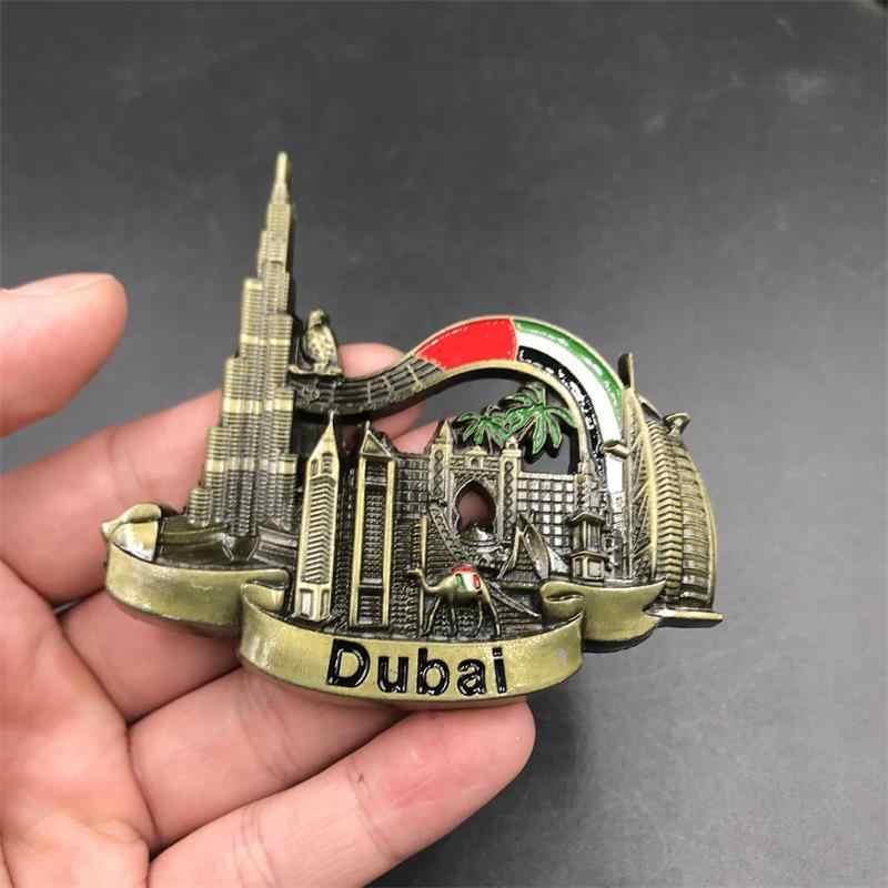 3d buzdolabı mıknatısı hoşgeldiniz Dubai UAE belçika viyana buzdolabı Sticker Metal manyetik yaratıcı manzara çıkartmaları el yapımı zanaat