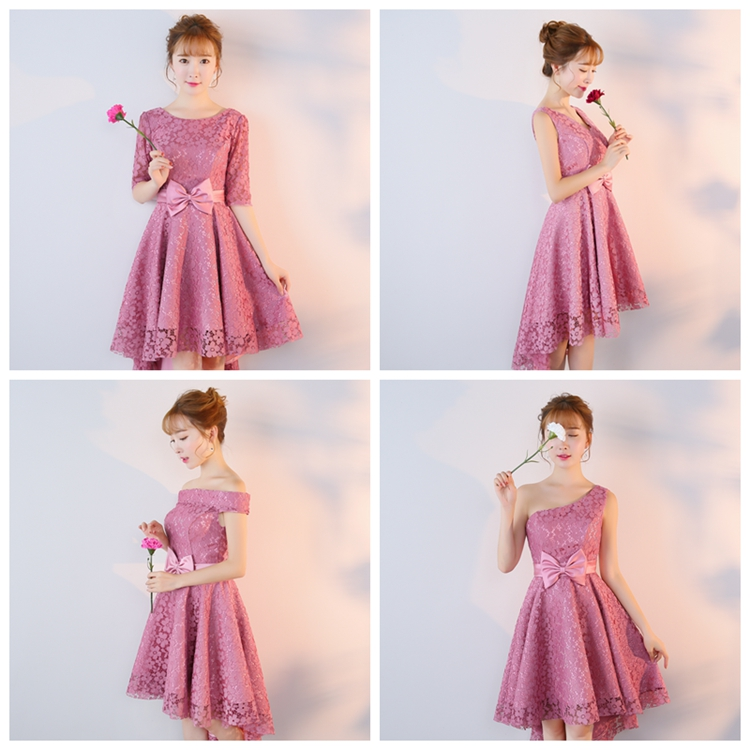 Pink Bridesmaid Dresses Short Sleeves Guest Wedding Party Plus Size Prom Special Occasion Dresses New Years Eve Vestidos Mujer