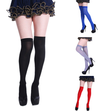 Neon Color Thigh High Stockings Women Sexy Happy Funny Socks Orange Fluorescent Yellow Purple Evening Party Wear Knee
