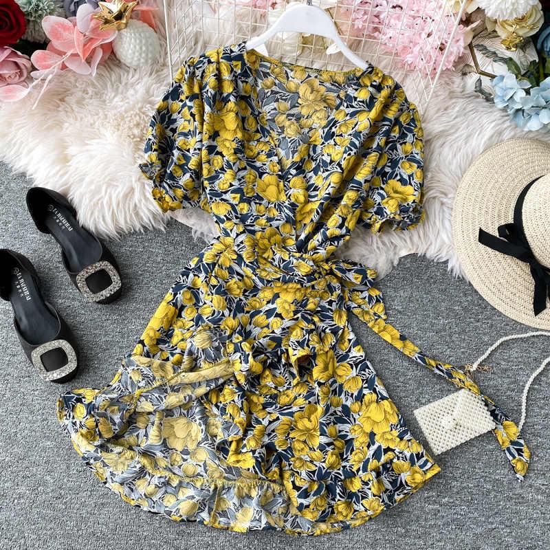 المرأة الدانتيل يصل الأزهار البولكا نقطة فستان صيفي مثير الخامس الرقبة التفاف فستان سليم الخصر أنيقة بوهو الكشكشة شاطئ فستان قصير Vestido