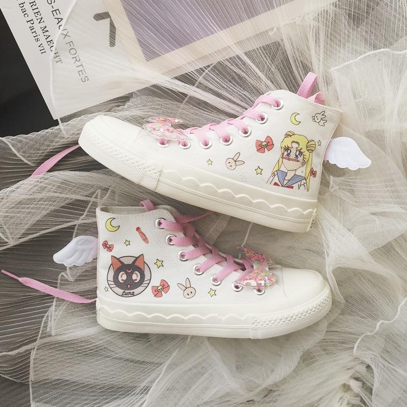 New Japanese Anime Sailor Moon Luna Cat Cute Cartoon Hand Painted Graffiti Canvas Shoes For Girl Women Cosplay High Shoe Upper