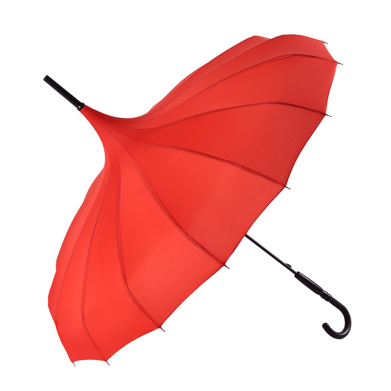 Windproof Reinforced Rain Or Shine Dual Purpose NC Fabric Straight Pole Long Handle Solid Color Bao Ta San Gift Umbrella Customi