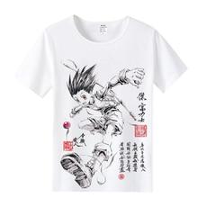 Anime hunter x hunter mężczyzna & kobiet projekt T Shirt GON FREECSS drut mleczny T shirt z tkaniny