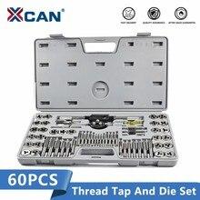 XCAN 60PcsสกรูชุดประแจDieเจาะรูบิตเจาะเกลียวเครื่องมือเมตริกTapและDieชุด