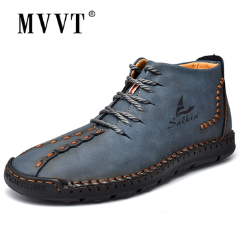 2020 New Fashion Men Boots Leather Handmade Ankle Boots Blue Outdoor Autumn Boots Men Casual Leather Shoes Men handmade retro style men boots natural leather ankle boots waterproof working boots outdoor classic autumn shoes men