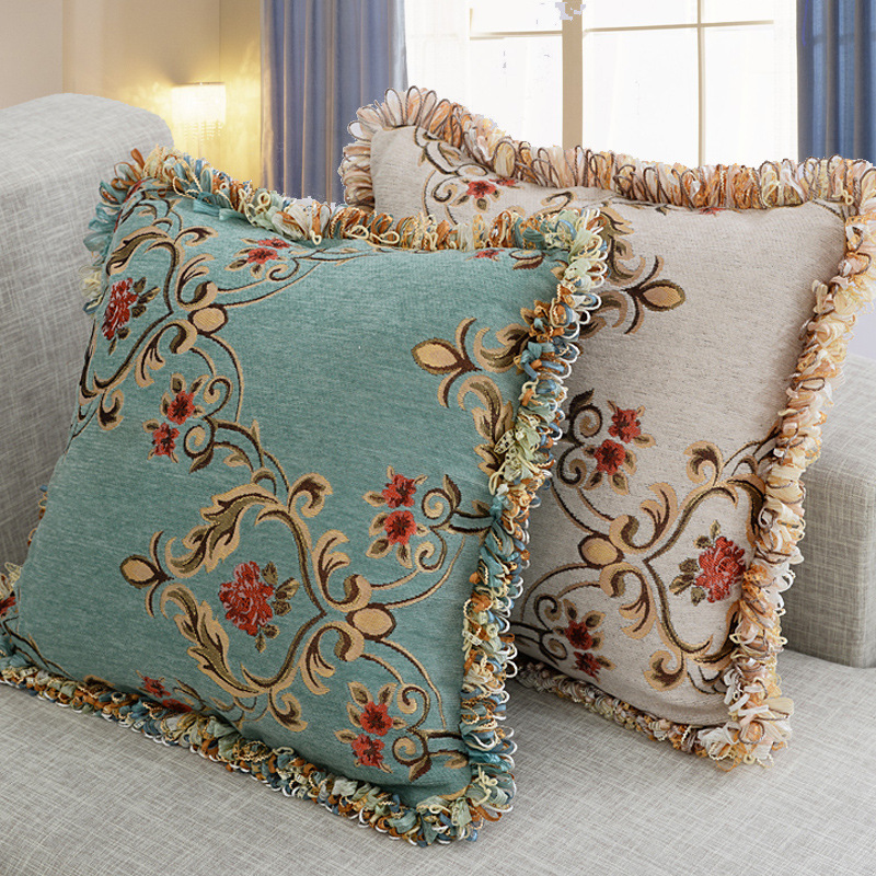 Luxury Pillowcase Chenille Jacquard Throw Pillow Case European Style Bed Sofa Decorative Pillow Cover 40*40/45*45/50*50/40*60 cm image