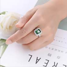 2019 New Charm Gemstone Finger Ring Green Rose Red Color Dazzling Zircon Ring for Women Wedding Party Luxury Jewelry Gift(China)