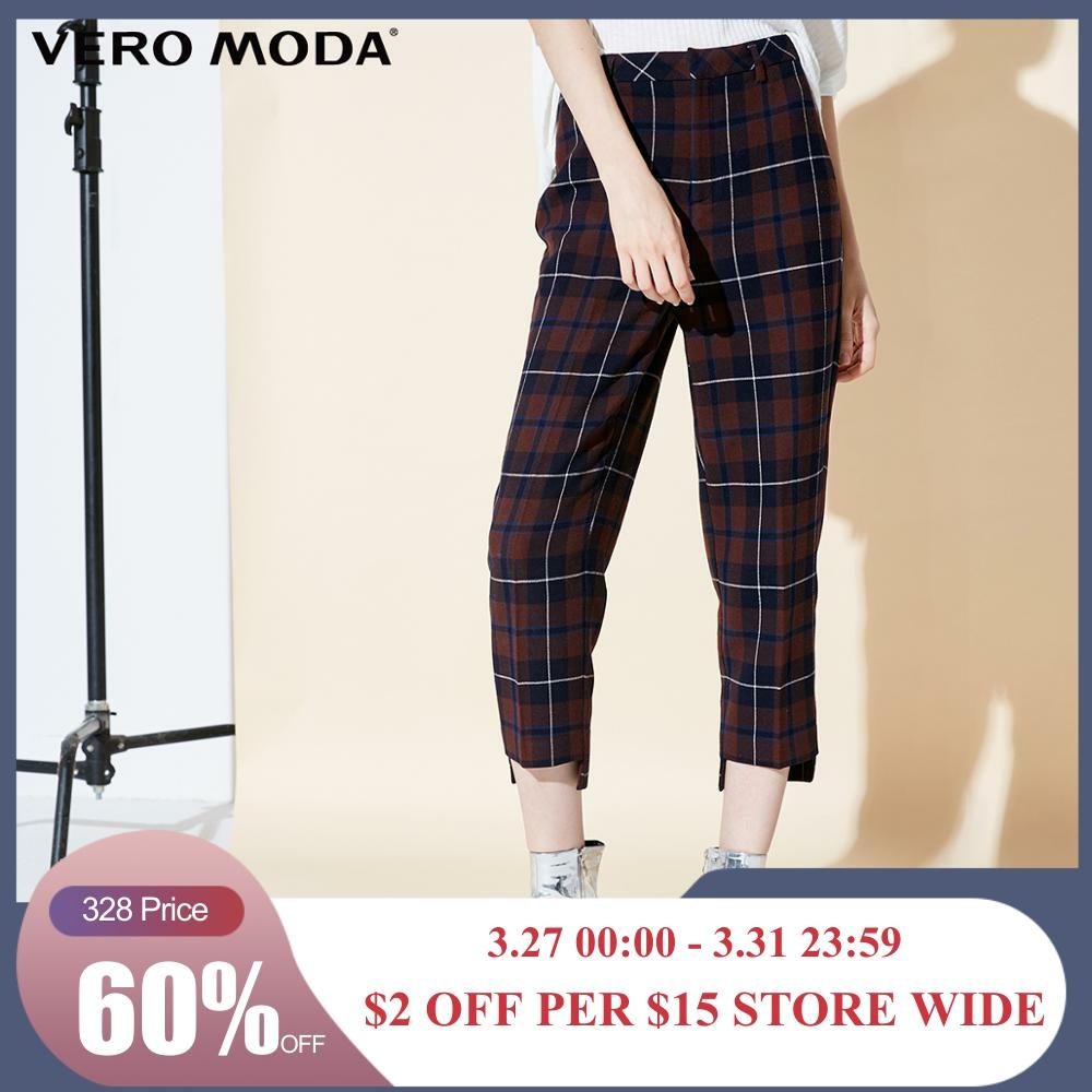 Vero Moda New Arrivals Women's Plaid Wide-leg Casual   Capri     Pants   | 31846J523