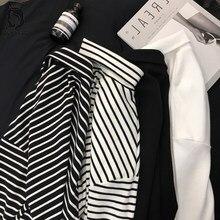T-shirt à manches longues rayé noir et blanc pour femmes, ample, à la mode, Style coréen, pour étudiantes, 2020