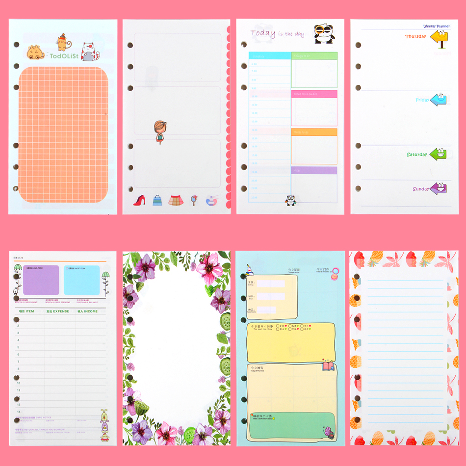 40 Sheet/pack A6 A5 Colorful Refills Spiral Notebook Inner Pages 6 Holes Loose Leaf Diario Binder Paper Planner Filler Paper