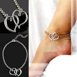 Barefoot Sandals Anklets Double-Heart-Chain Women Jewelry Trendy for 1PC Elegant New-Fashion