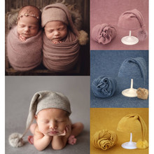 Knitted Hat Photography-Props Photo-Shoot-Accessories Baby Beanie Newborn Blanket Fur-Ball