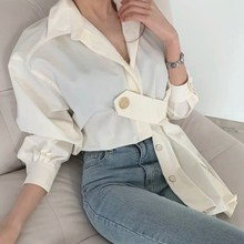 Fashion Solid Lantern Sleeve Casual Shirts Female Turn-Down Collar Loose Blouse Spring Button Plus Size Shirts girls plaid blouse 2019 spring autumn turn down collar teenager shirts cotton shirts casual clothes child kids long sleeve 4 13t