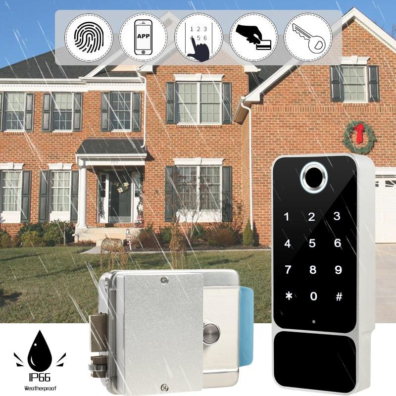 Rainpfoor Bluetooth Electronic Door Lock With TT Lock Mobil Phone APP Fingerprint Passcode Smart Card Outdoor Gate Entrance W5