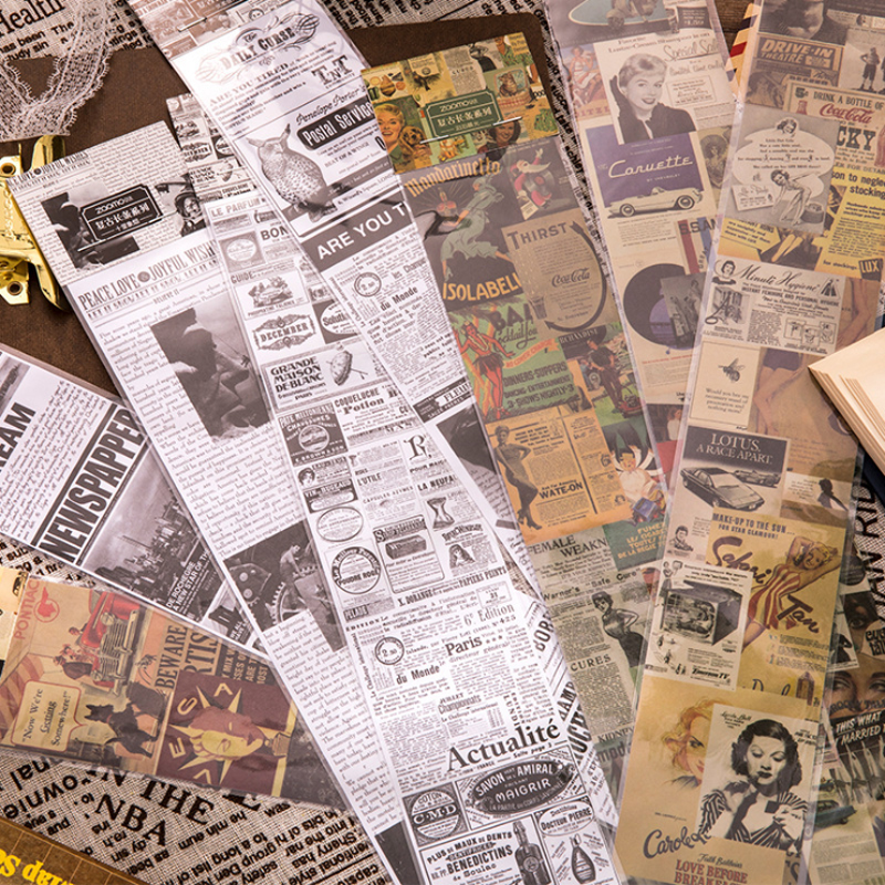 6.3*46cm Vintage Newspaper Washi Tape DIY Decorative Scrapbooking Planner Masking Tape Adhesive Tape Label Sticker Stationery