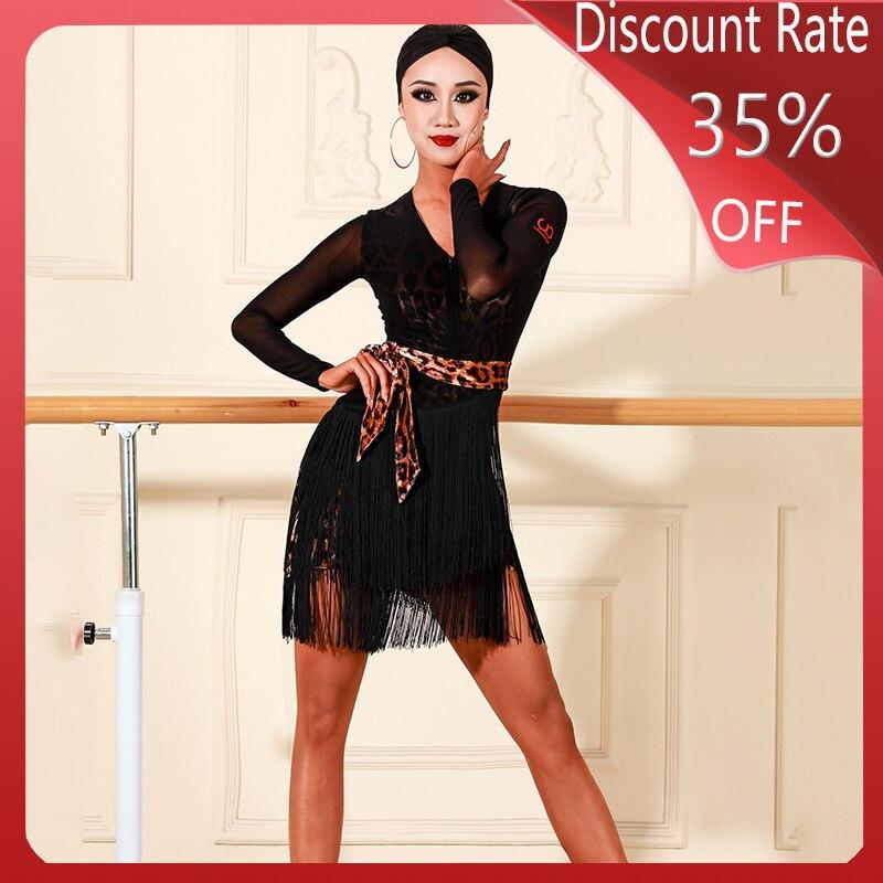 Fashion Latin Dance Dress Women Fringe Dress New Adult Latin Dance Tassel Skirts Partice Performance Clothes Salsa Dress DQS3519
