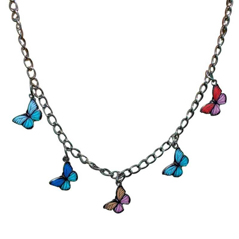 ボヘミアンかわいいカラフルな蝶のチョーカーネックレス鎖骨チェーン 2020 ファッション女性チョーカージュエリー