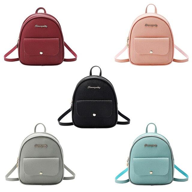 حقيبة ظهر صغيرة حقيبة الكتف للسيدات من جلد بلوتونيوم للفتيات في سن المراهقة الاطفال موضة جديدة صغيرة على ظهره حقيبة المدرسة السيدات الإناث 6