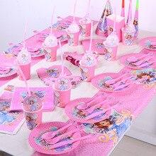 120 pz/lotto Cartoon Disney Sofia tema usa e getta tazza piatto festa di compleanno decorazione articoli per la tavola per il bambino