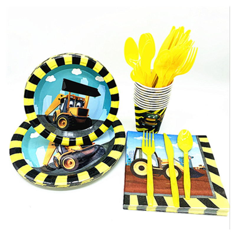 Construction Vehicle Excavator Theme Party Supplies Disposable Tableware Napkin Paper Plate Cups Birthday Party Decor Kids