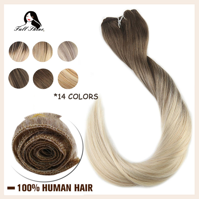 $ US $24.64 Full Shine Hair Weft Invisible Machine Remy Hair Bundles Balayage Color 100g Skin Weft Double Weft Sew in Hair Extensions