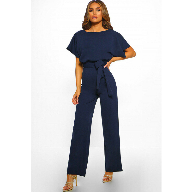 Hirigin 2020 Fashion Women O Neck Short Batwing Sleeve Belted Jumpsuit Summer Playsuit Office Work Wear Elegant Trousers