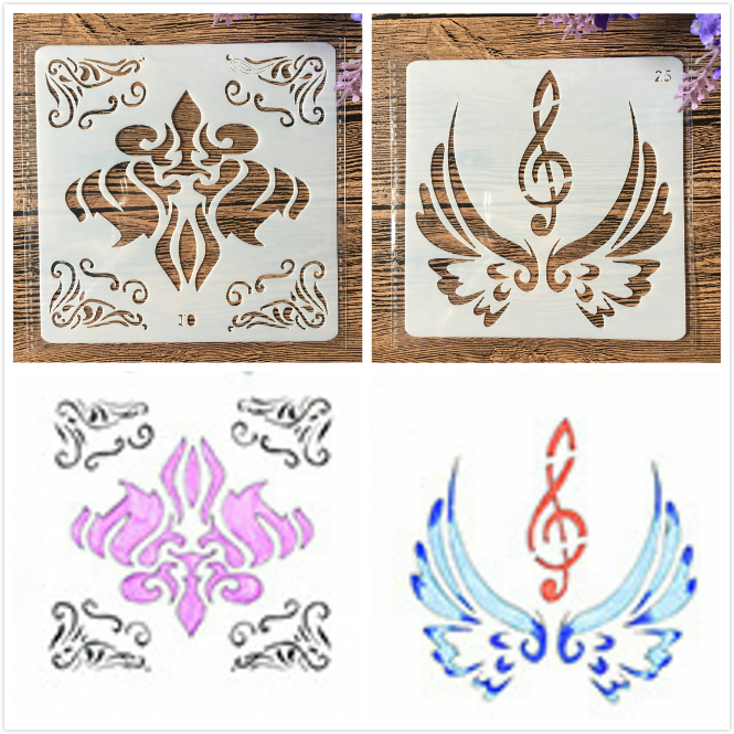2Pcs/Lot 13cm Music Note Wing DIY Craft Layering Stencils Painting Scrapbooking Stamping Embossing Album Paper Template