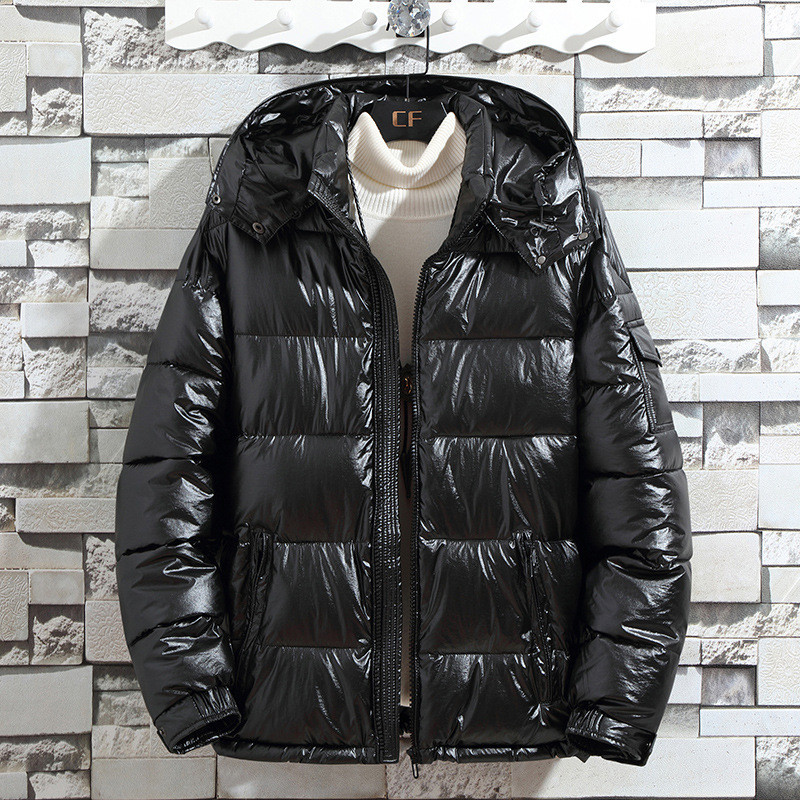 Frieed Men Winter Hooded Stand Collar Warm Quilted Padded Middle Length Down Jacket