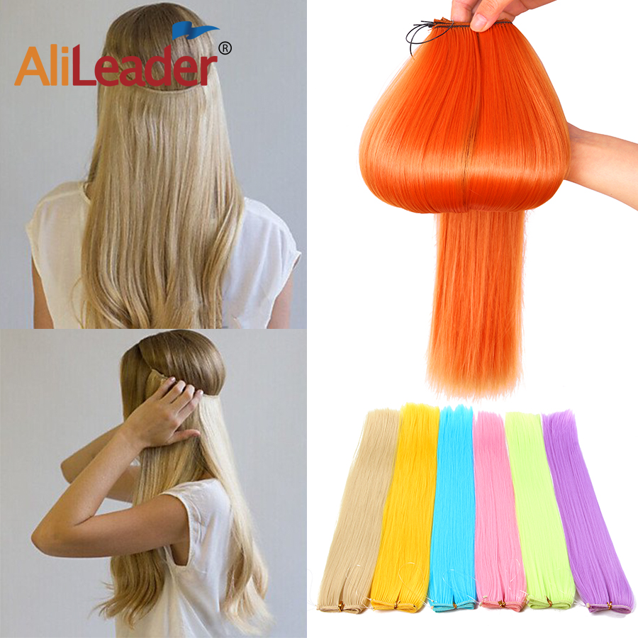 AliLeader 22Inch Natural Invisible Clip In One Piece Hair Extensions Synthetic For White Women Pink Blue Black Secret Wire Clip