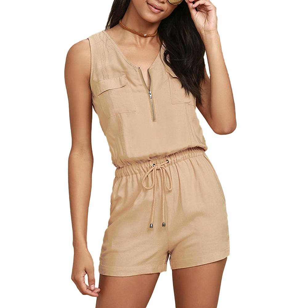 Summer Romper Women Solid Color Jumpsuit Zipper V Neck Sleeveless Sexy Playsuit 2020 Hot