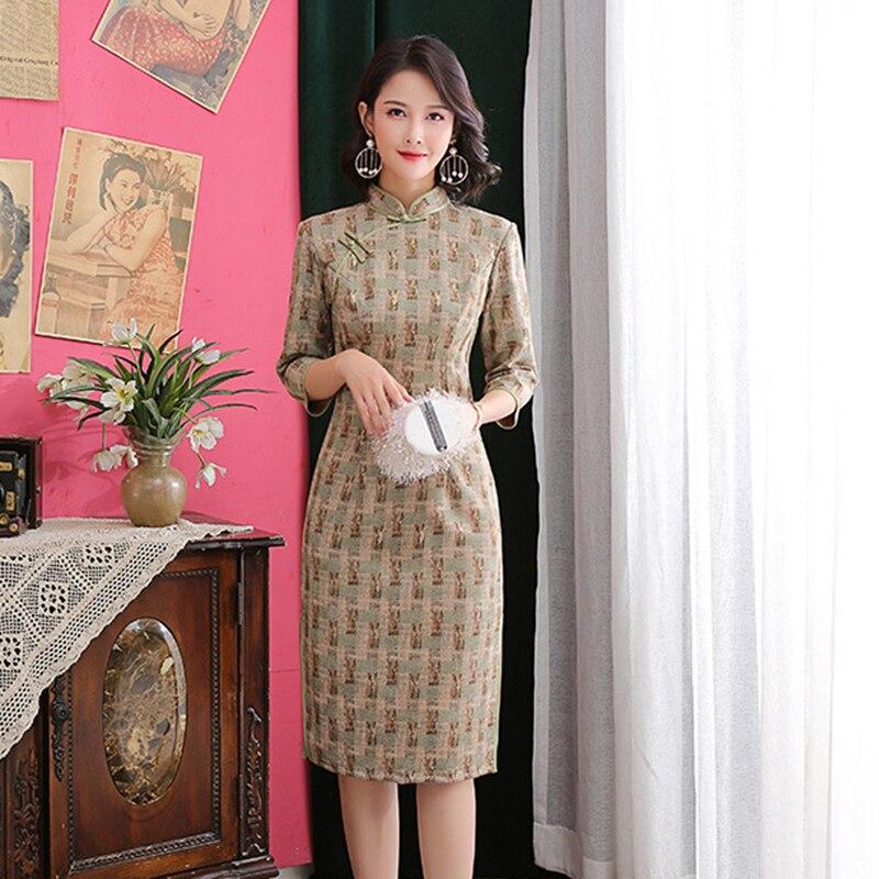 Large Size 3XL 4XL Young Lady Red Plaid Mandarin Collar Cheongsam High Split Sexy Qipao Half Sleeve Long Evening Party Dress