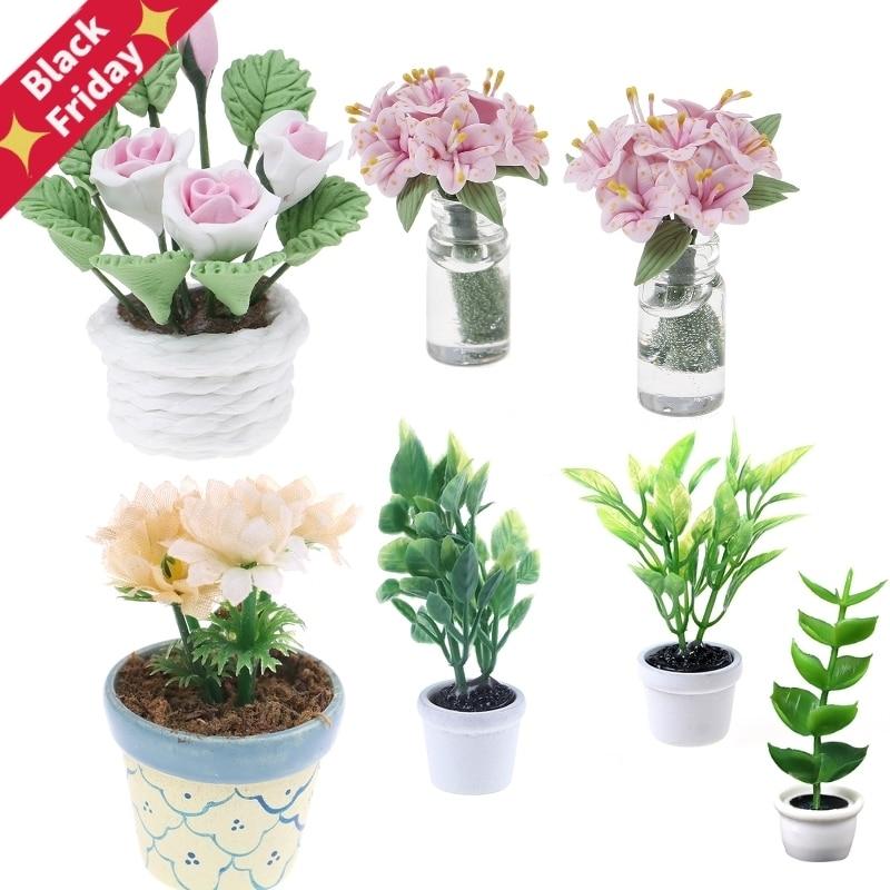 7Pcs//Set 1:12 miniature resin landscape flower pot dollhouse garden for kids SG