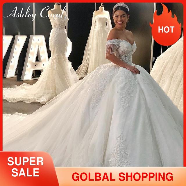 Ashley Carol Sexy Sweetheart Royal Train Ball Gown Wedding Dress 2020 Luxury Beaded Cap Sleeve Lace Up Princess Robe De Mariee