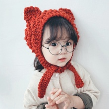 купить Winter Hat Newborn Baby Winter Hats For Kids Autumn Toddler Infant Knitted Hat Photography Props Bonnet Cute Ear Cap Girl Boys дешево