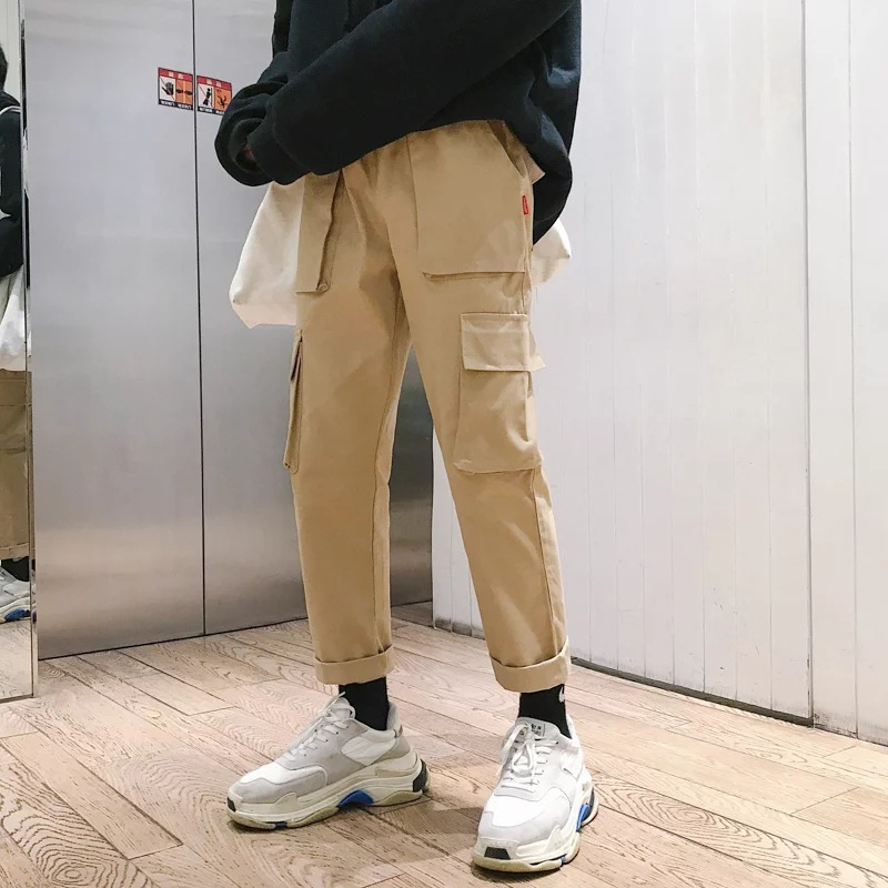 New Style Autumn Clothing Men's Trousers Trend Multi-pockets Skinny Casual Pants Men's Japanese-style Solid Color Capri Pants Bi