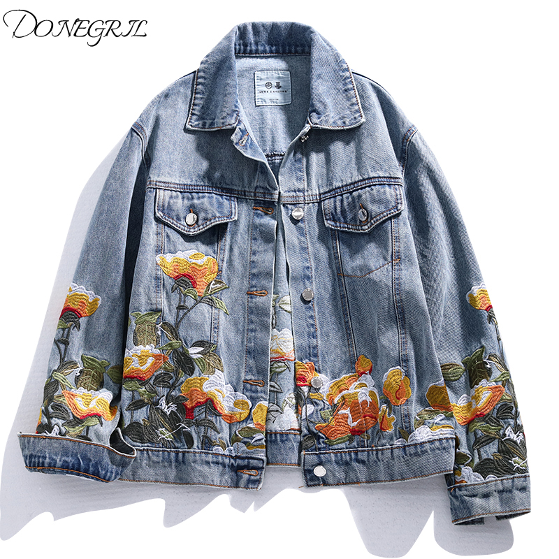 2020 Spring Autumn New Embroidered Flower Jeans Jacket Women Loose Short Coat Denim Jacket Vintage Casual Outerwear Womens