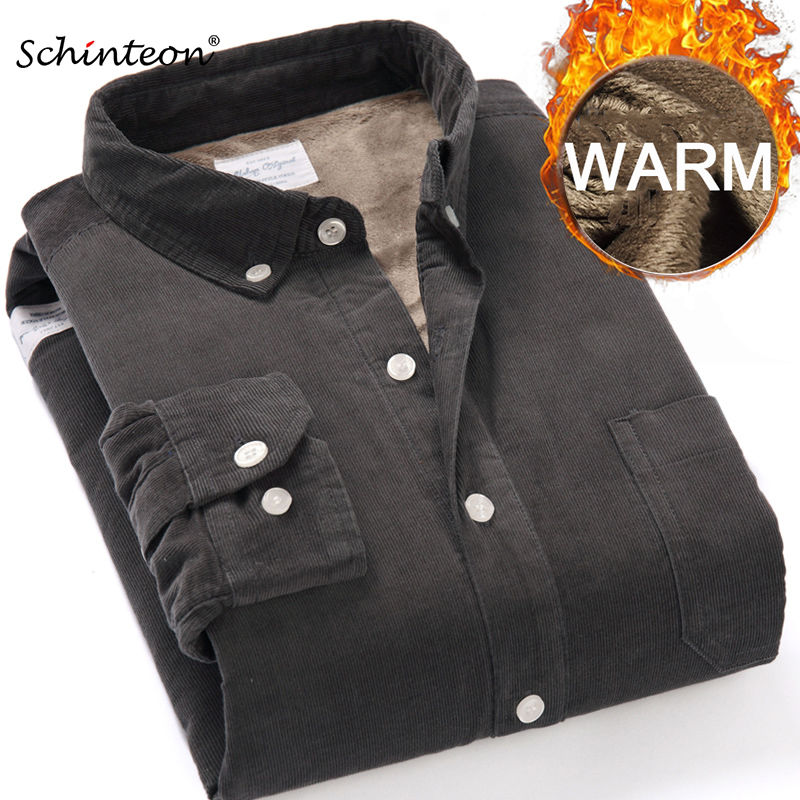 Top Quality 2020 Winter Warm Bottoming Shirt Men Corduroy Shirt Thick Fleece Lining Thermal Shirt S-4XL 1