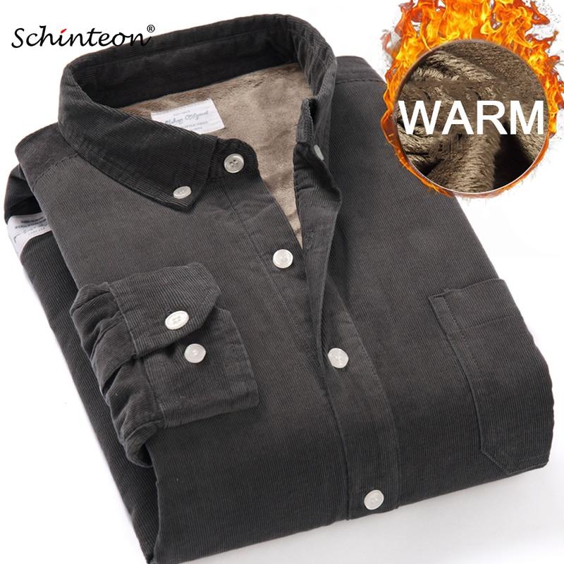 Top Quality 2020 Winter Warm Bottoming Shirt Men Corduroy Shirt Thick Fleece Lining Thermal Shirt S-4XL 1