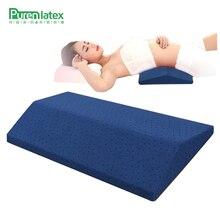 PurenLatex almohada en forma de almohada triangular de espuma viscoelástica, cojín de apoyo para la espalda, rebote lento, protección Cervical para embarazadas, 60x28x5