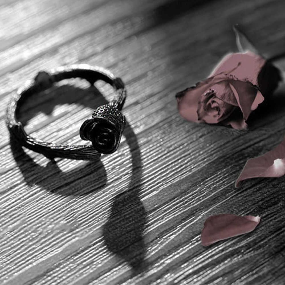 2019 Vintage Black Rose ดอกไม้เปิดแหวน 925 เงินสเตอร์ลิงสง่างามหญิงแฟชั่นเครื่องประดับแหวน