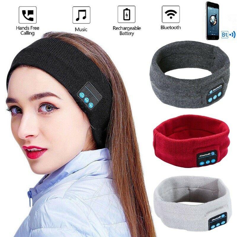 Wireless Bluetooth Sports Headband Headphones Run Gym Sleep Music Headset Mic