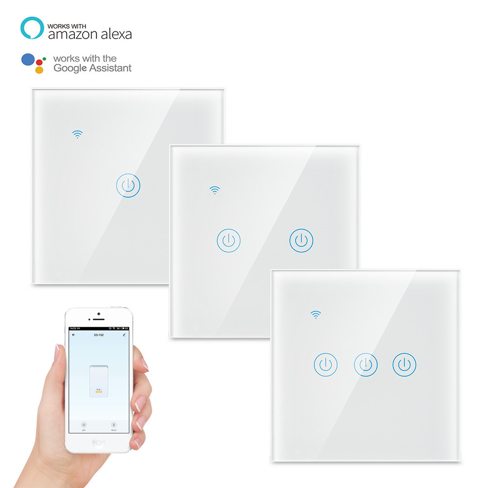 Smart Wifi Touch light Switch No Neutral Wire Required Tuya RF433 Remote Smart Home Controller EU Standard Work with Alexa