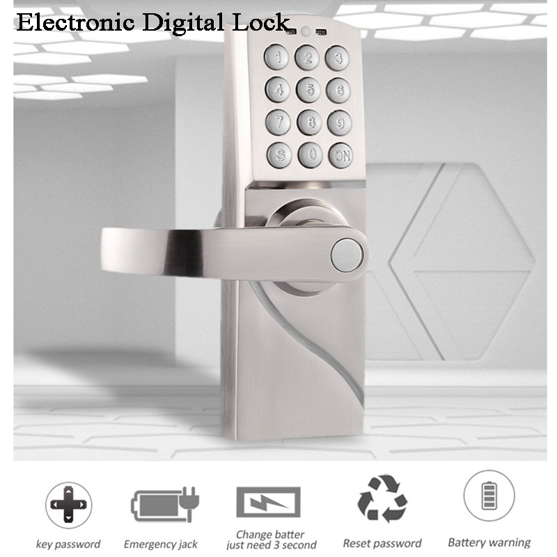 Home Electronic Digital Door Lock Gate Opener Code/Password/Key Battery Handle Office/Garden/House/loft Iron Wooden Door Lock
