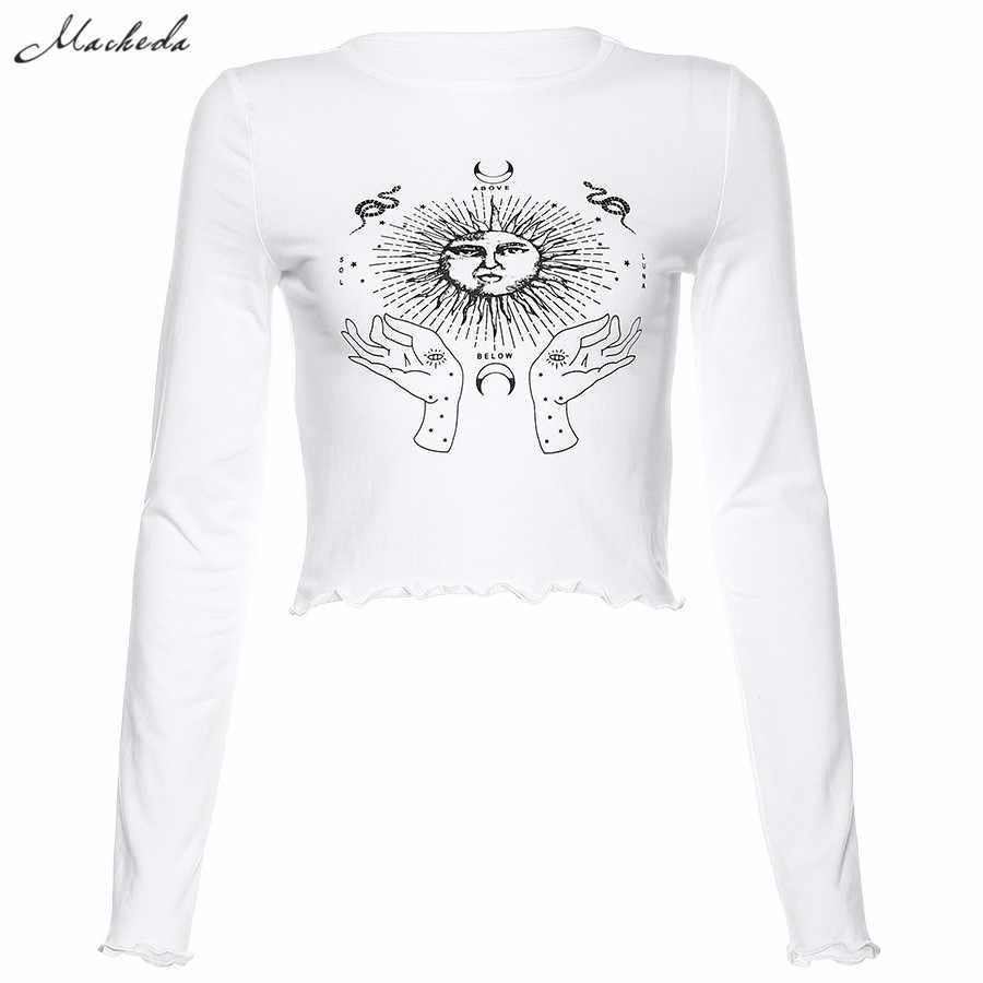 Macheda jesień kobiety biała szczupła koszulka moda uliczna drukuj z długim rękawem O Neck Tee Lady Streetwear wzburzyć krótkie bluzki 2019 nowy